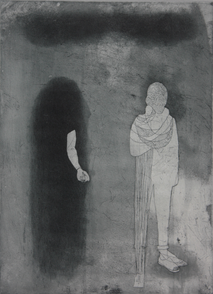 """Separating Identities (etching and chine colle, 12"""" x 8.75"""")"""