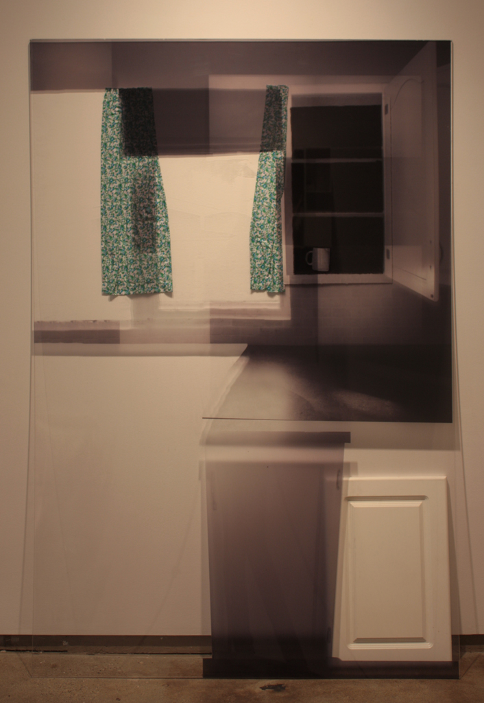 Reaching Forward and Disappearing. Digital print on silkscreen, fabric, charcoal on paper, cupboard door. 6' x 4'