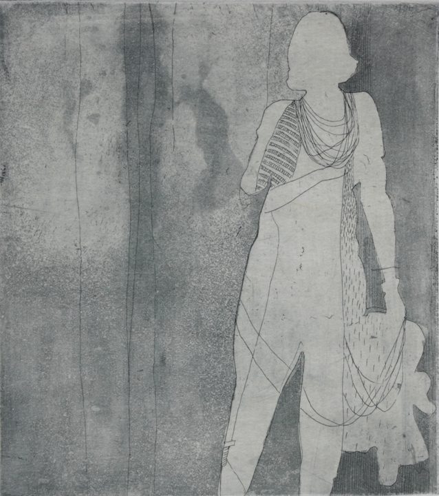 "Walking Lightly (etching and chine colle, 4.5"" x 4"")"