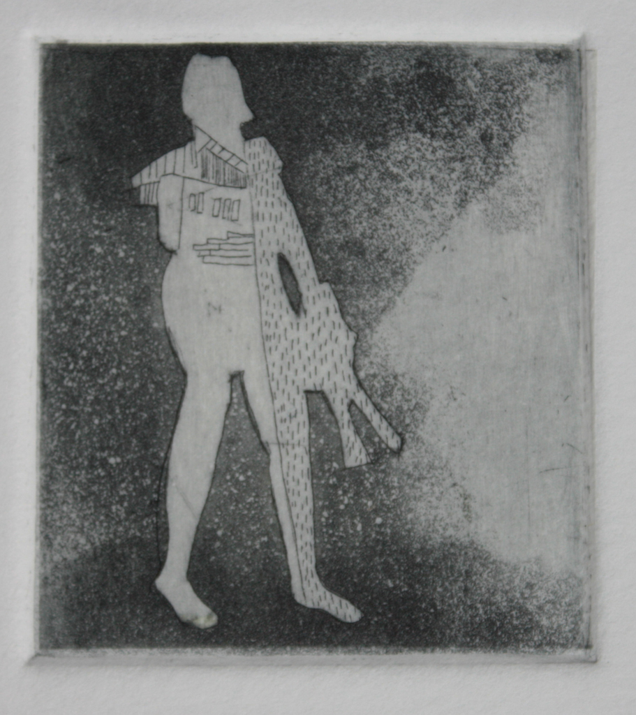 """Away (etching and chine colle, 2.25"""" x 2"""")"""