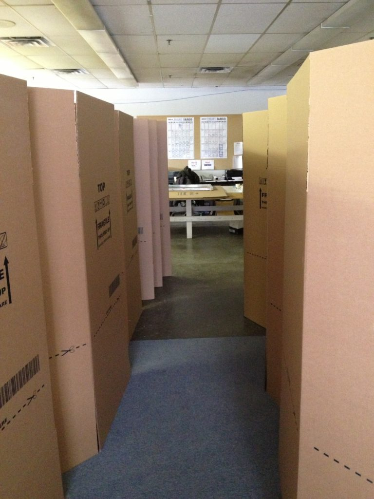 A forest of drying giant boxes.