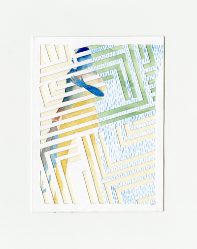"Untitled (Watercolour and papercut, 6"" x 4""). Collaboration with Jolie Bird"