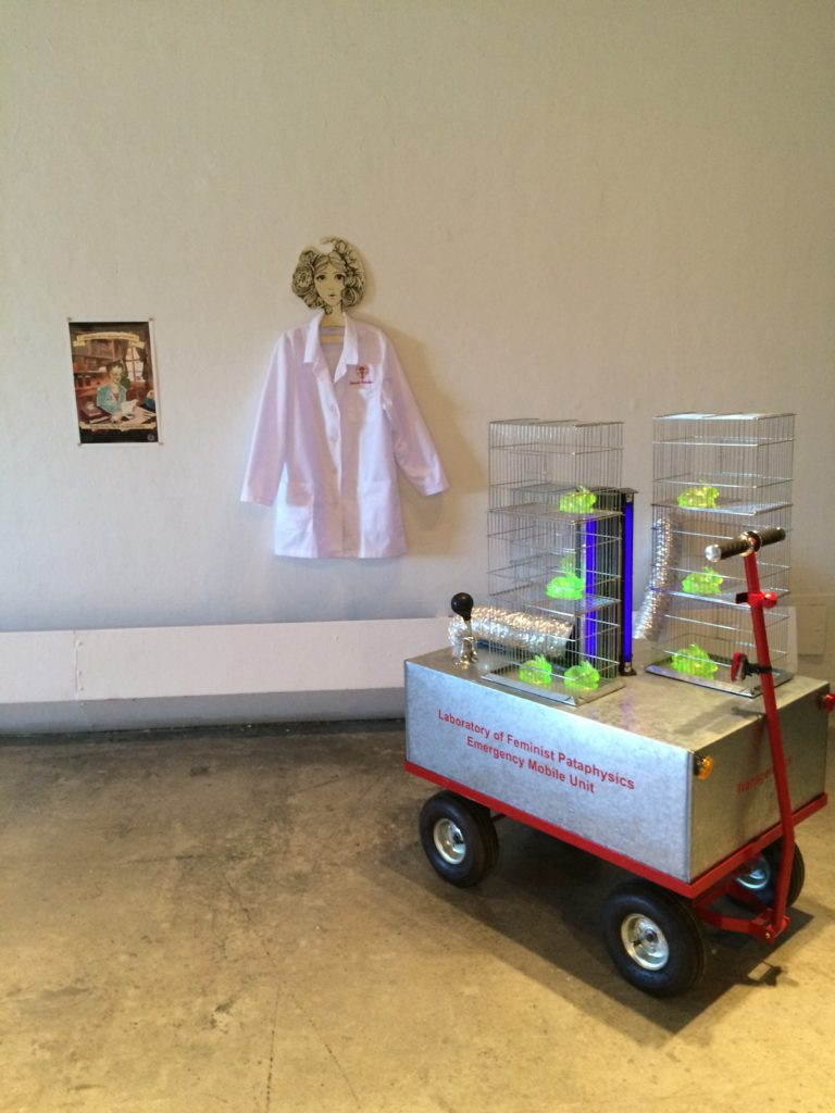 Mireille Perron's piece - an emergency mobile unit that is part of her ongoing Laboratory of Feminist Pataphysics project.