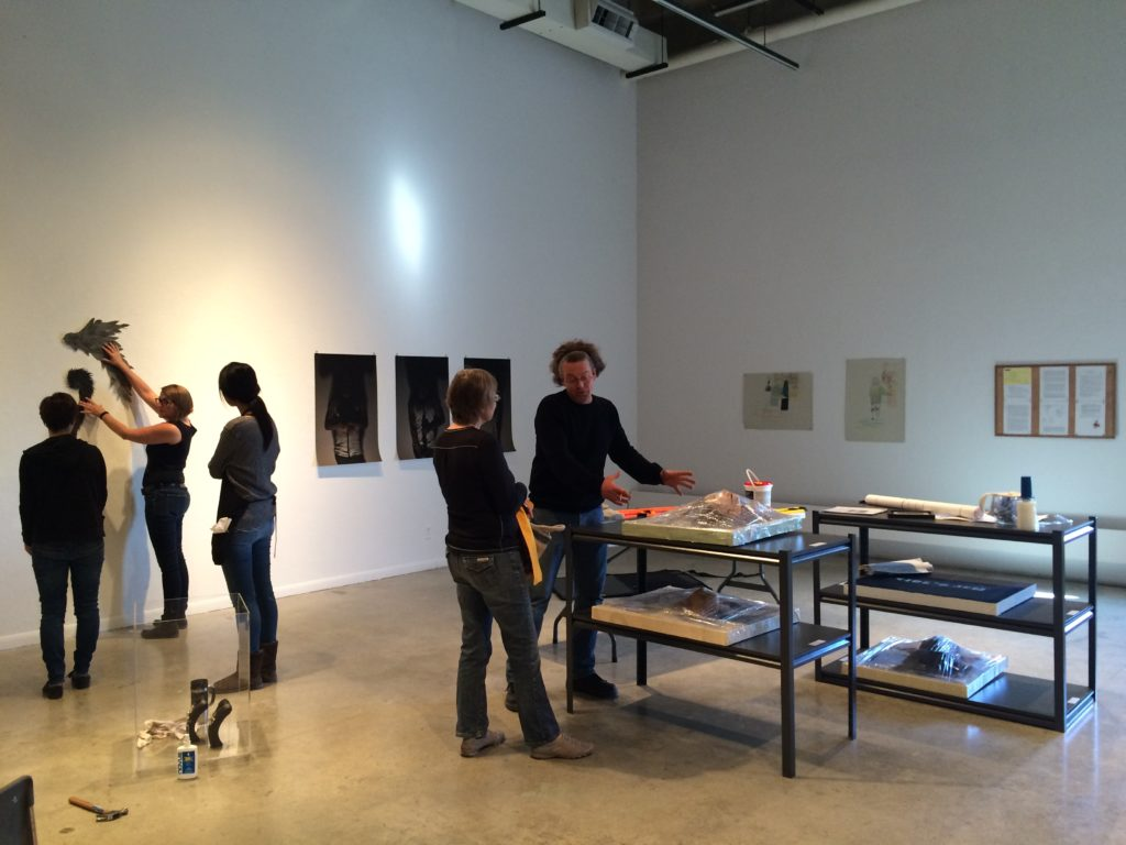 FIELDWORK: The Exhibition being installed in room 371 at ACAD.