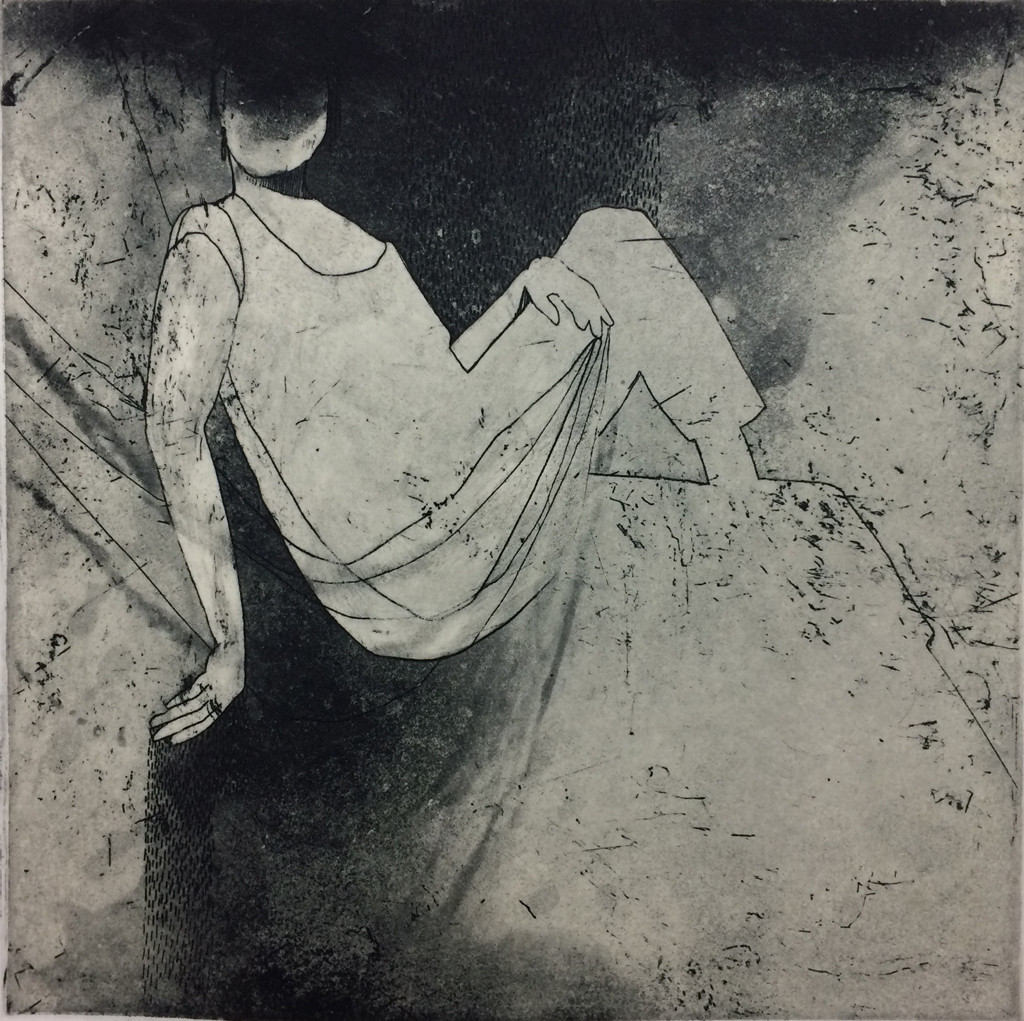 "Pause (etching and chine colle, 5.5"" x 5.5"")"