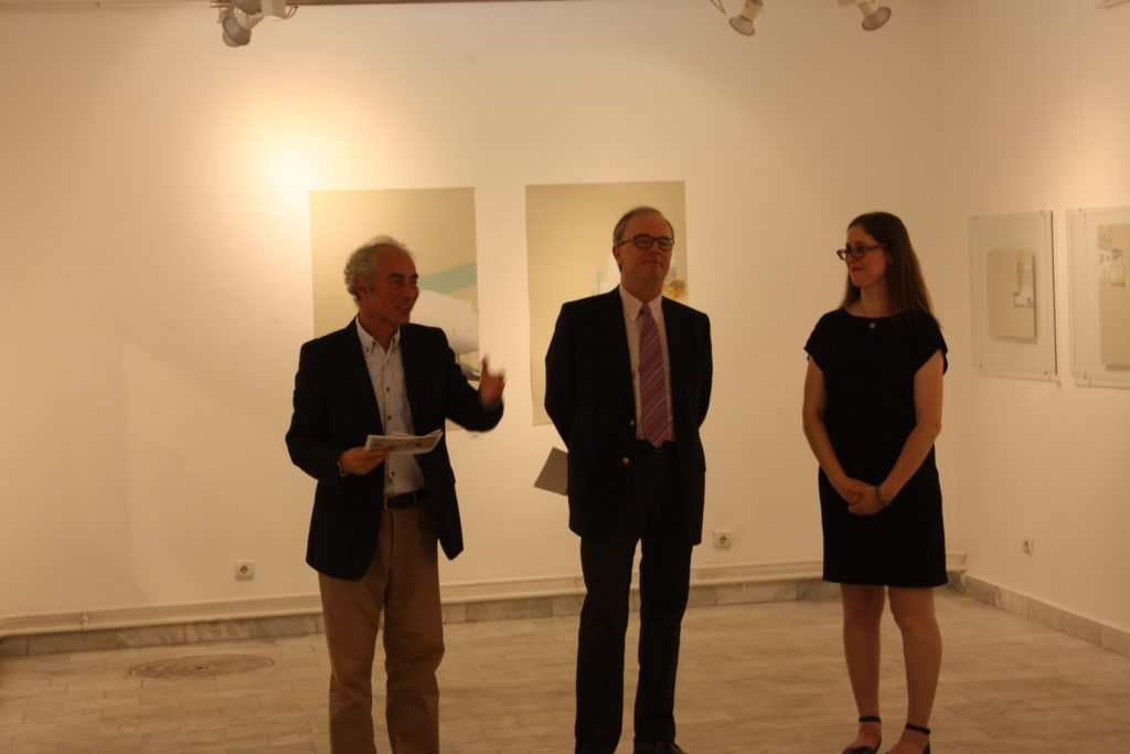 Opening the exhibition with the gallery director and the Canadian Ambassador.